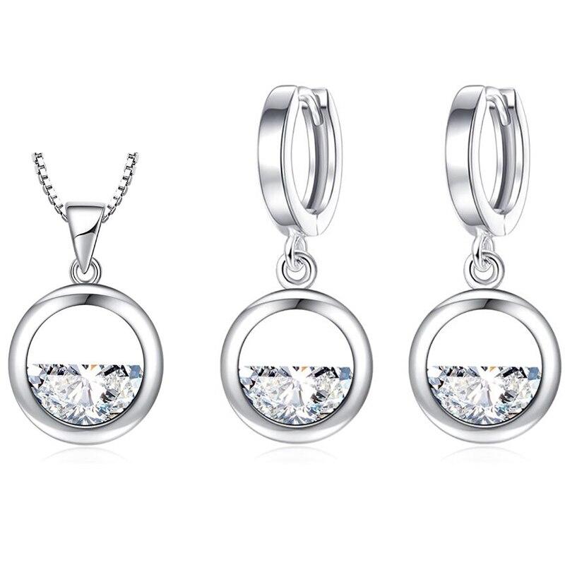 XIYANIKE 925 plata esterlina Simple hueco redondo brillante cristal Zirconia cúbica juegos de joyas para mujer regalo de aniversario NE + EA 2019