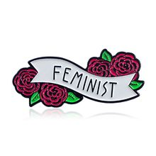Feminist Enamel Pin Banner with Flowers Cute Quote Accessory for Women Jewelry