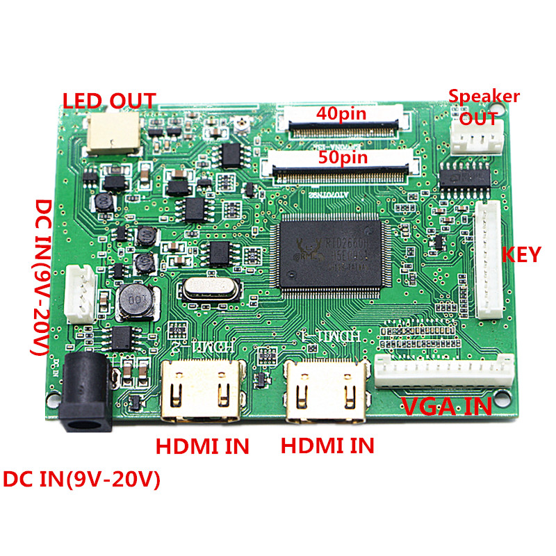 2HDMI+VGA+Audio 40pin50pin LCD Driver Controller Board Kit for Panel AT065TN14/AT070TN90/AT070TN92/AT070TN94/AT080AT64/AT090TN10 Replacement Parts & Accessories    - AliExpress