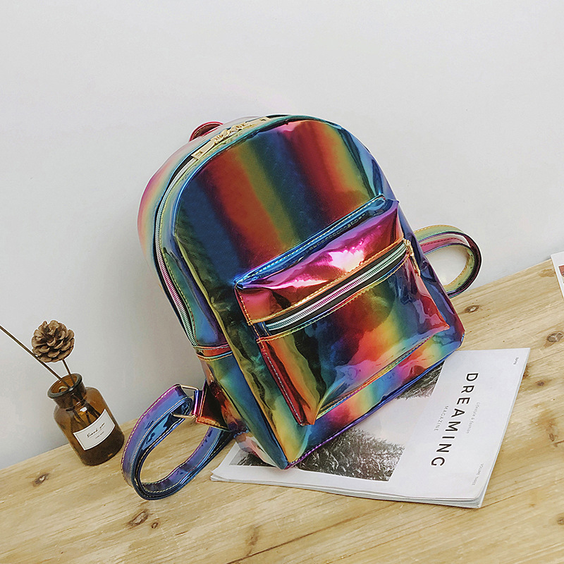 2018 Women Colorful Laser PU Laptop Backpack Stripe Shoulder Bag Girls Schoolbag Hologram Luminous Daypacks Laser Gift Bag