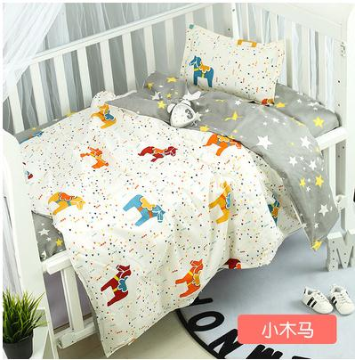 Good Quality Pony Crown Baby Linen Baby Crib Set For Both Girl And Boy Cotton Baby Bedding Set ,Duvet/Sheet/Pillow, With Filling