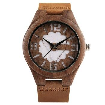Brown Nature Wood Bamboo Minimalist Quartz Wrist Watch Gift Genuine Leather Strap Double Green/White Unique relogio masculino