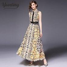 3ce1d9d71b8 Runway Designer 2018 Spring Summer Long Dress Women s High Quality Yellow  Flowers Embroidery Vintage Maxi Dress
