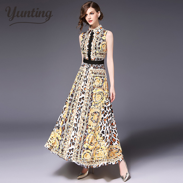 8f9f615280 Runway Designer 2019 Spring Summer Long Dress Women's High Quality Yellow Flowers  Embroidery Vintage Maxi Dress