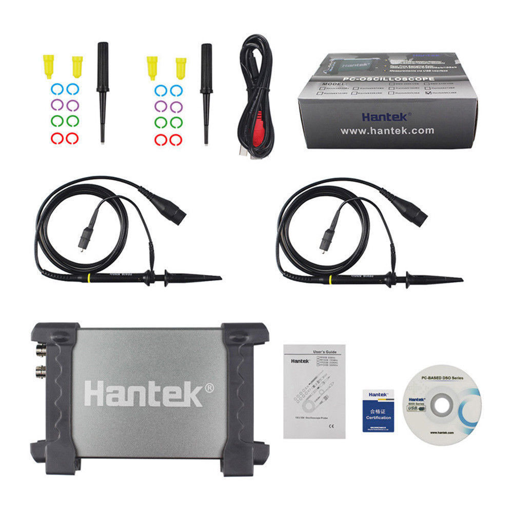 Hantek 6022BE Portable Oscilloscope Automotive Hantek 6022BE PC USB 6022BE Digital Storage 2Channels 20MHz 48MSa/s Multimeter hantek 6022be virtual oscillograph pc usb portable oscilloscope digital storage 2channels 20mhz 48msa s original product