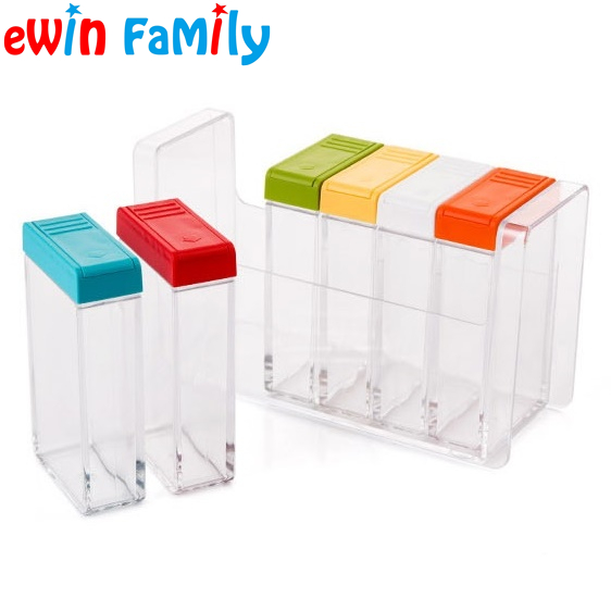 kitchen cooking transparent plastic seasoning jars salt sugar spice storage rack colorful flavouring box condiment pot