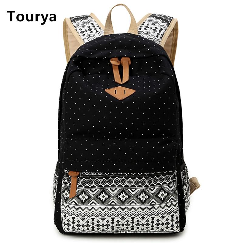 Tourya 빈티지 소녀 학교 가방 도트 인쇄 캔버스 여성 배낭 Mochila Feminina 캐주얼 가방 학교 가방