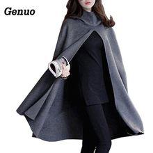 Women Hooded Cloak Coat Bat Sleeve Long Poncho Cape Genuo 2018 Woolen Blend Shawl Plus Size Irregular Ponchoes Capes