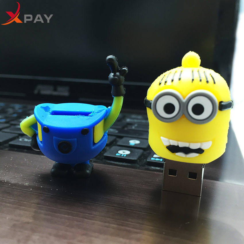 Image 4 - Usb Flash Drive Cute Cartoon Little Yellow Man USB 2.0 Pendrive 32GB Pen Drive 4GB 8GB 16GB 64GB Usb Stick 128GB Free Shipping-in USB Flash Drives from Computer & Office