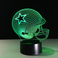 Novelty NFL Dallas Cowboys Football Telmet 3D LED Night Light 7 Color Changing Table Lamp For