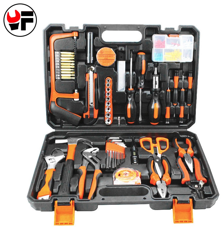 YOFE 102pcs Household Tool Kit for car Repair Tool Saw Screwdriver Plier KnifeTorque wrench Hand Tool Box For Metalworking