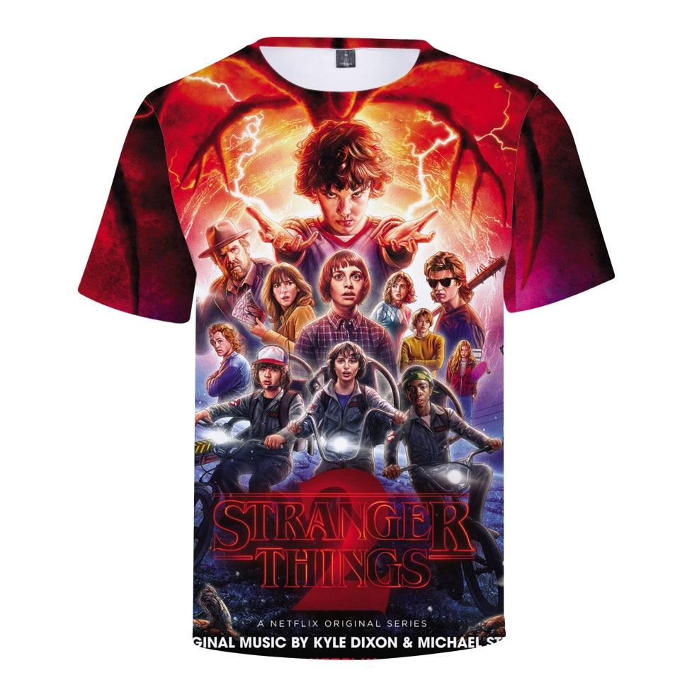 2018 Stranger Things 2 Print Funny Fitness Men T-Shirt 3D Character Design Mens 3d T Shirt Summer Hipster Tshirt Tops Homme Tees