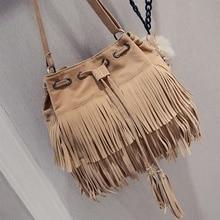 Retro Faux Suede Fringe Women Messenger Bags Tote New Handba