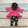 Детские зимние НАРЯДЫ для девочек 3 шт. с шарфом одежда новорожденных девочек ярко-розовый топ с оленей брюки детская бутик одежды
