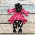 TRAJES de bebé de invierno niñas 3 unidades con la bufanda ropa baby girls hot pink top con renos pant niños boutique trajes