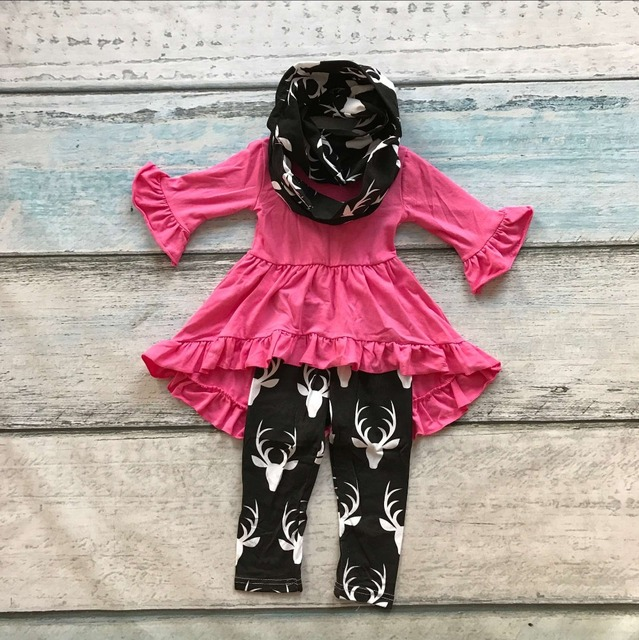 baby winter OUTFITS girls 3 pieces with scarf clothing baby girls hot pink top with reindeer pant children boutique outfits