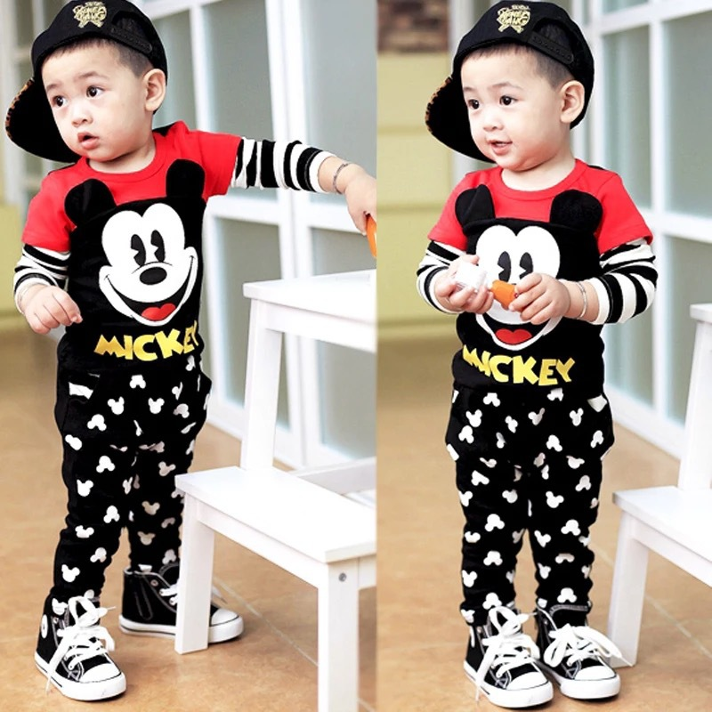 2016 Promotion boy clothing set Mickey Minnie kids clothes long sleeve cotton children wholesale price baby girls sport suit