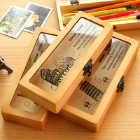 Vintage Wooden Pencil Box Europe Attractions Pencil Case Students School Supplies
