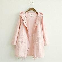 Merry довольно осень Для женщин куртка японский Стиль Мори девушка сплошной Цвет Повседневное свободные с капюшоном Женский Верхняя одежда длинное пальто розовый jakets