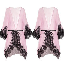 Sexy Erotic Women Lace V-Neck Nightdress Lingerie Nightwear Babydoll Night Dress Sleepwear Chiffon Robes(China)