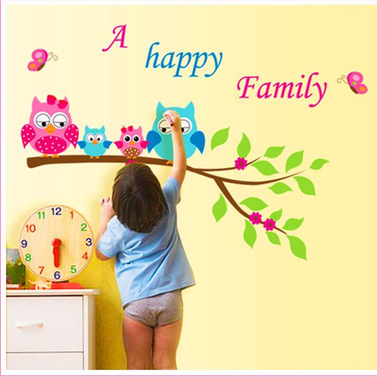 Happy Family Tree animal cartoon owl living sofa wall decals ...