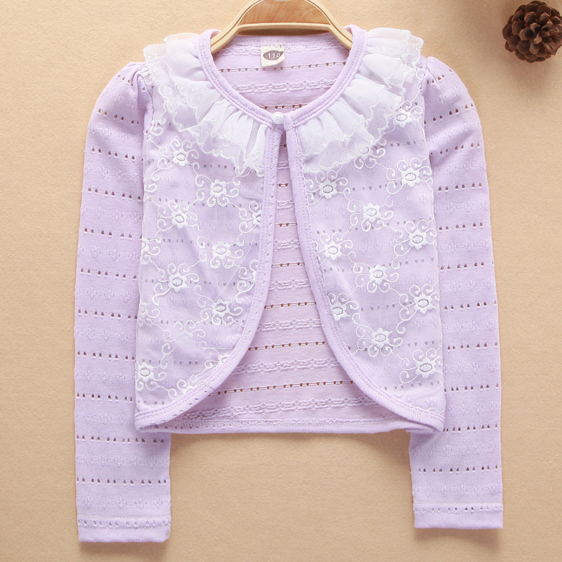 Spring Summer White Cardigan Thin Girls Coat Soft Outwear For 2-9T Kids Cotton Baby Girl Clothes Children Long Sleeve Cardigan