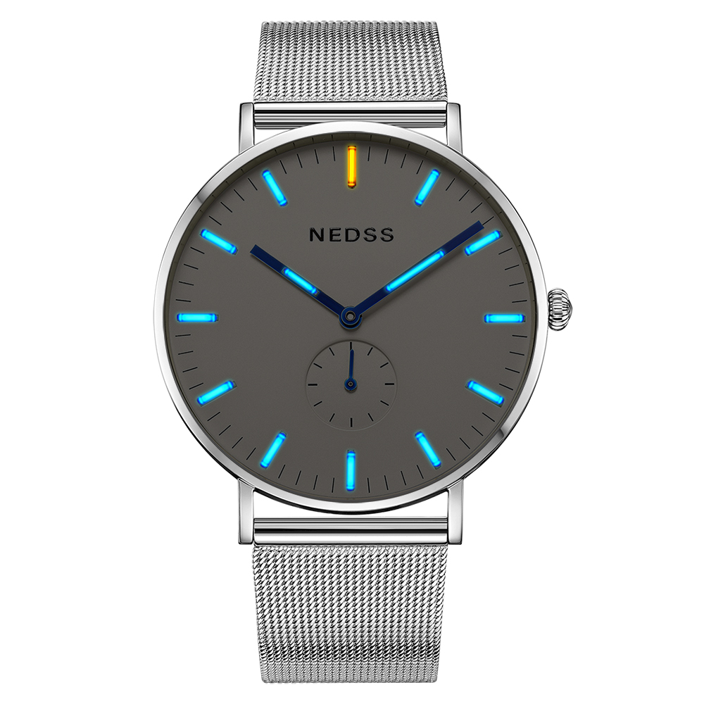 NEDSS Top Brand simple Luxury Stylish Watch swiss movement Men Stainless Steel Mesh 50M waterproof sport Watch for couple