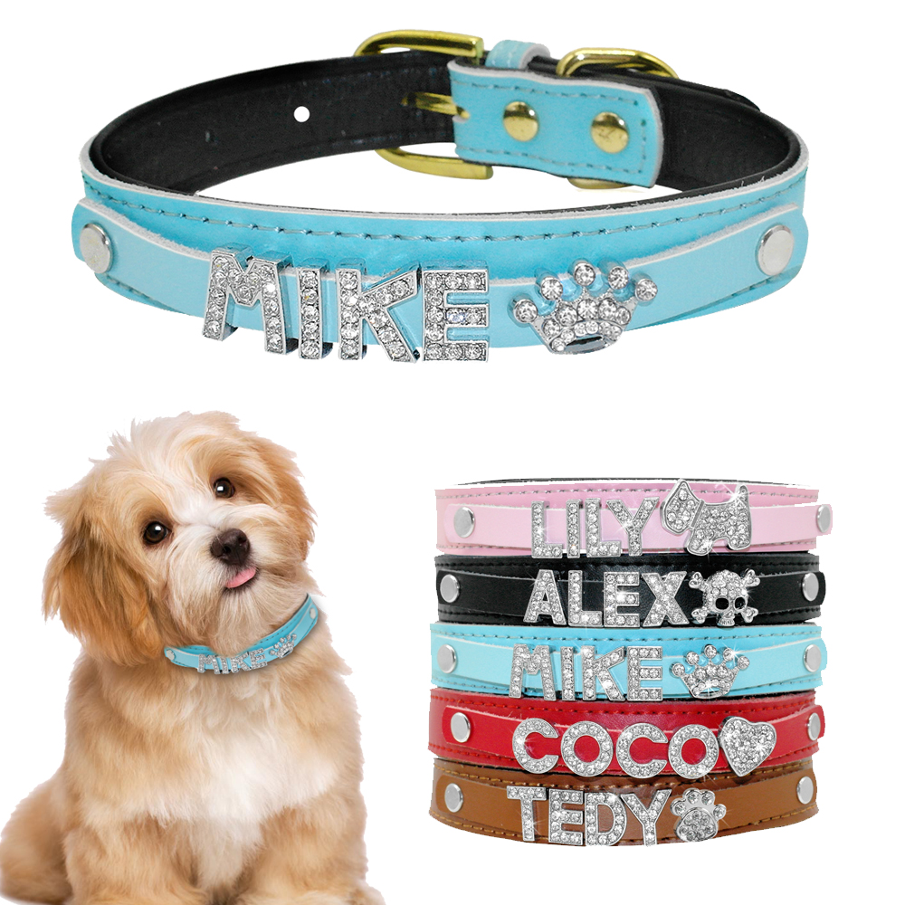 Personalized Dog Collar Inner Padded Customized Leather Puppy Cat Collars With Rhinestone Pendant Free Name & Charm XS S M