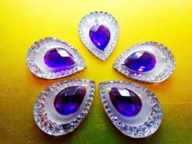 Sew On rhinestones water drop shape 10 14mm Purple AB colour resin crystal  flatback strass 0d98e10049ff
