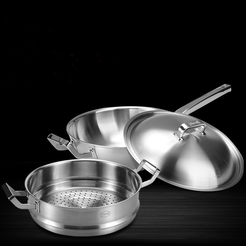 Us 253 0 8 Off 32cm 30cm Food Grade 304 Stainless Steel 5 Ply Non Coated Flat Bottom Stick Pan Family Gl Lid Saucepan In Cookware