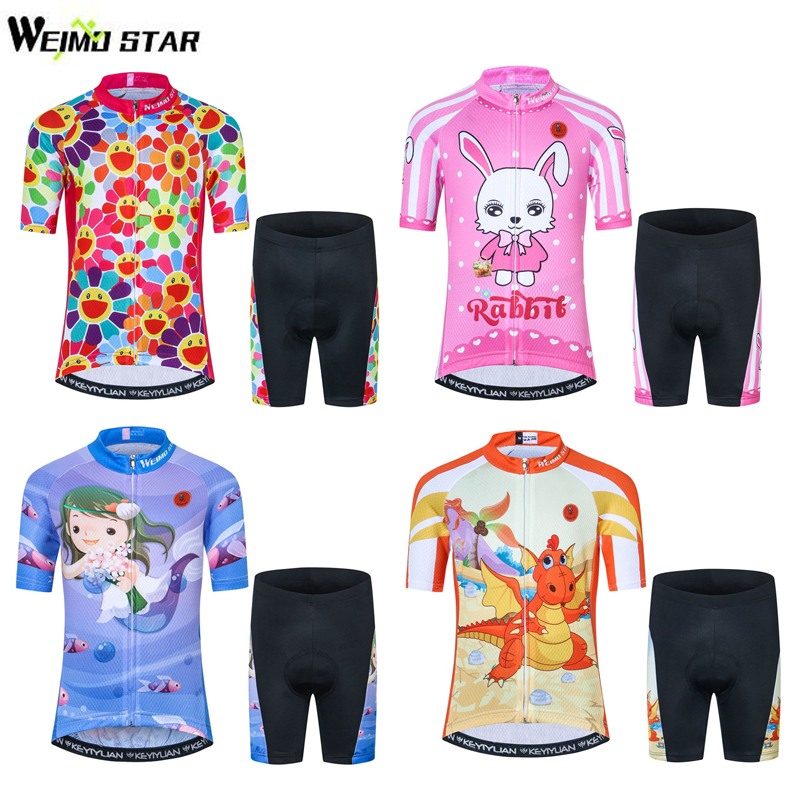 Kids Cycling Clothing Short Sleeve 3D Gel Shorts Suit Childrens Cycling Jersey Set Boy Girl Bike Jersey Bicycle Clothing 9 Style cheji cycling jersey clothing women s bike set cycling jersey and bicycle gel padded shorts cycling kit clothing for ladies