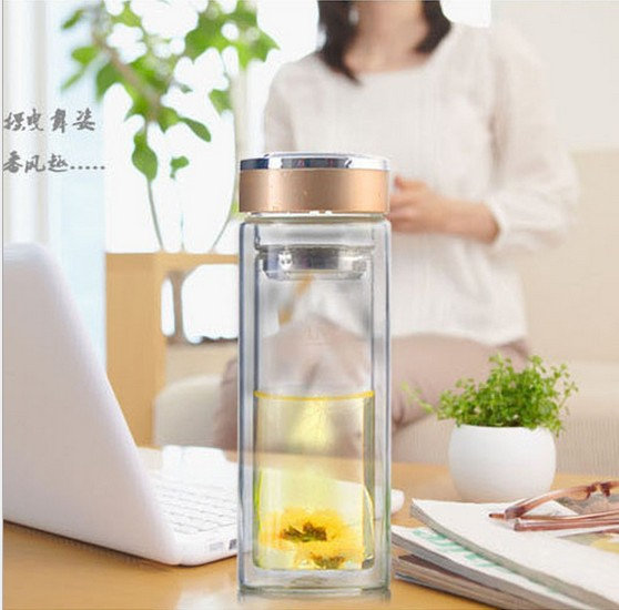 1PC New 300ML High grade double Wall Thermos glass Water Bottle with Tea Filter Infuser Protective Bag Crystal tea cup KD 1462 in Transparent from Home Garden