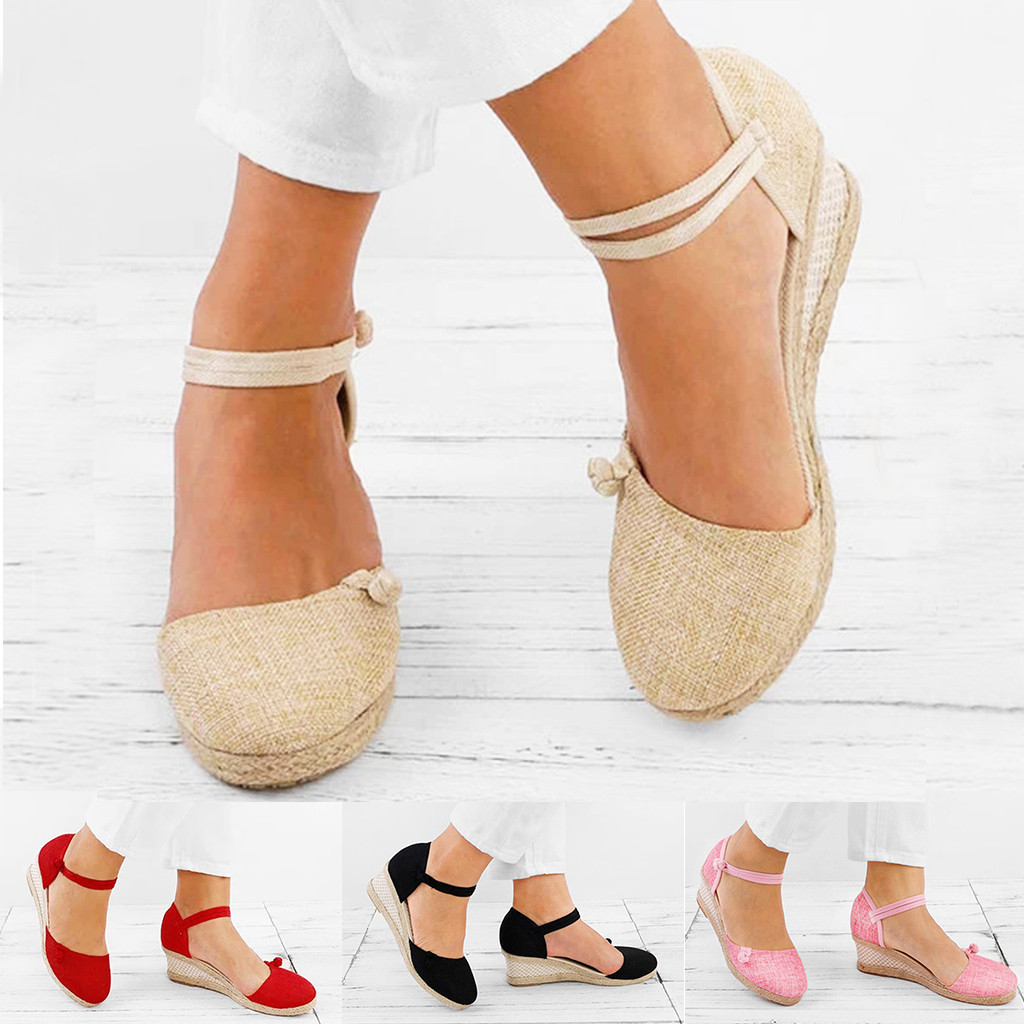 Espadrilles Sandals Wedge Hemp-Shoes Ankle-Strap Lace-Up Women Flats Linen Canvas Round-Toe title=