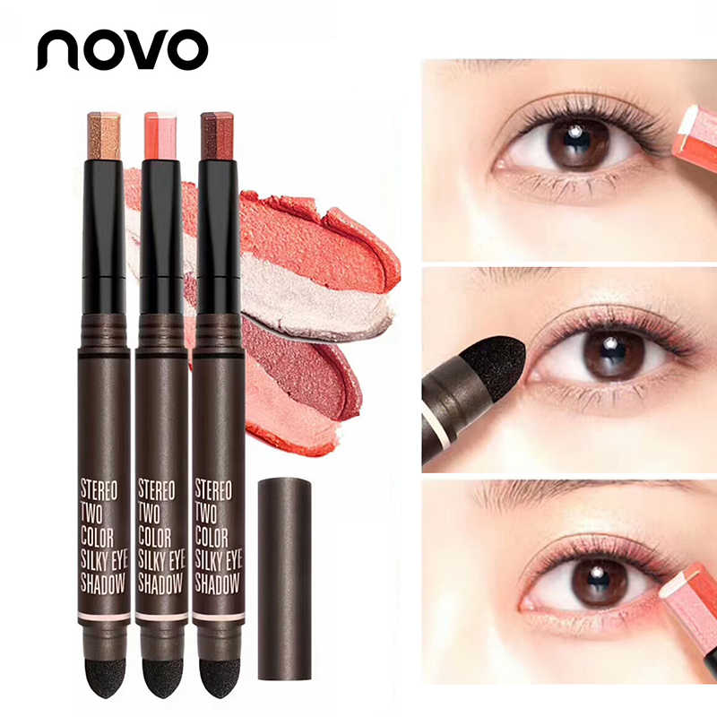 NOVO Brand 2 Colors Eyeshadow Pen Glitter Matte Makeup  Silkworms Eye Shadow Powder Make Up Pigment Cosmetics With Sponge