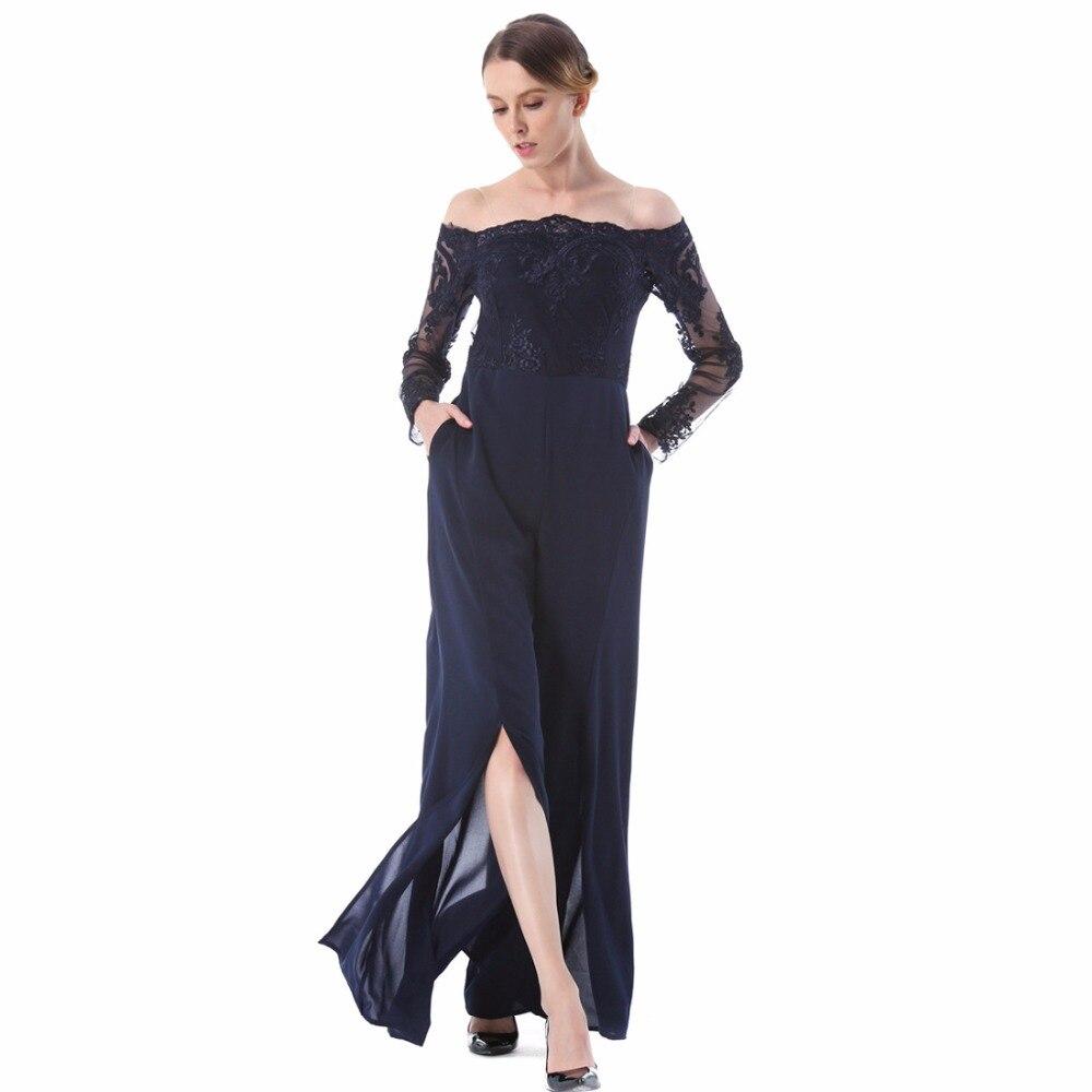 Haute qualité nouvelle mode euraméricaine d'été femmes dentelle combinaison bureau dame large jambe fend Long pantalon en mousseline de soie lâche combinaisons