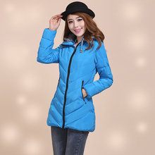Free shipping 2017 New female down cotton padded jacket medium long casual slim removable cap plus