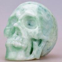 6 ''рейки заживляющий хрустальный череп ремесло Opalite череп из драгоценных камней Резьба реальное Исцеление каменная Статуэтка для украшения