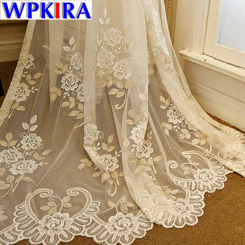 Europe Luxury Beige Curtain Sheer Flower Curtain Voile for Living Room Window Curtain Panel Grdient Tulle Bedroom WP364*2-40