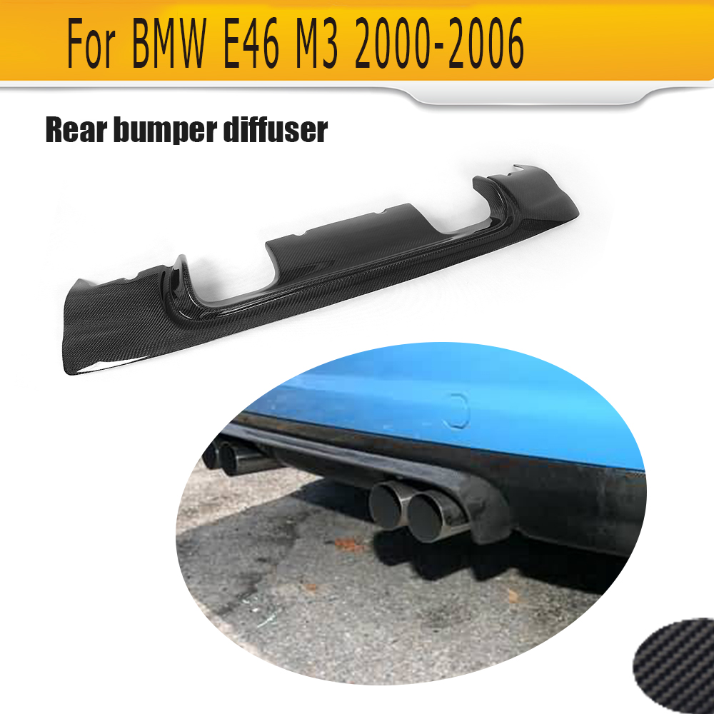 carbon Fiber Auto Car Rear Bumper Lip Spoiler Diffuser For BMW E46 M3 Only 2000 2006 Four Style