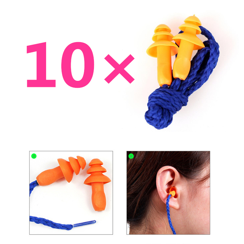 10Pcs Soft Silicone Corded Ear Plugs ears Protector Reusable Hearing Protection Noise Reduction Earplugs Earmuff soft silicone corded ear plugs ears protector reusable hearing protection noise reduction earplugs earmuff