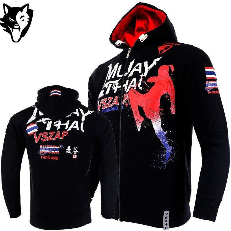 VSZAP MMA Rock Hoodies Winter Jacket Long Sleeve Hooded Sweatshirt Kick Boxing Combat Muay Thai Clothing Fighting Shirts