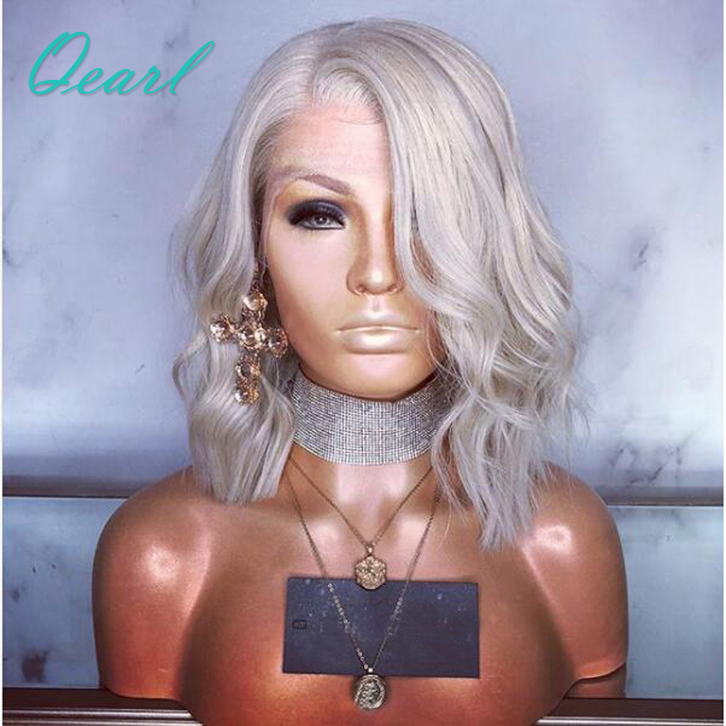 Qearl платиновый блондин короткие Боб Cut человеческих волос Парики бразильского Волосы remy прозрачный кружевной предварительно сорвал боковая часть Синтетические волосы на кружеве парик