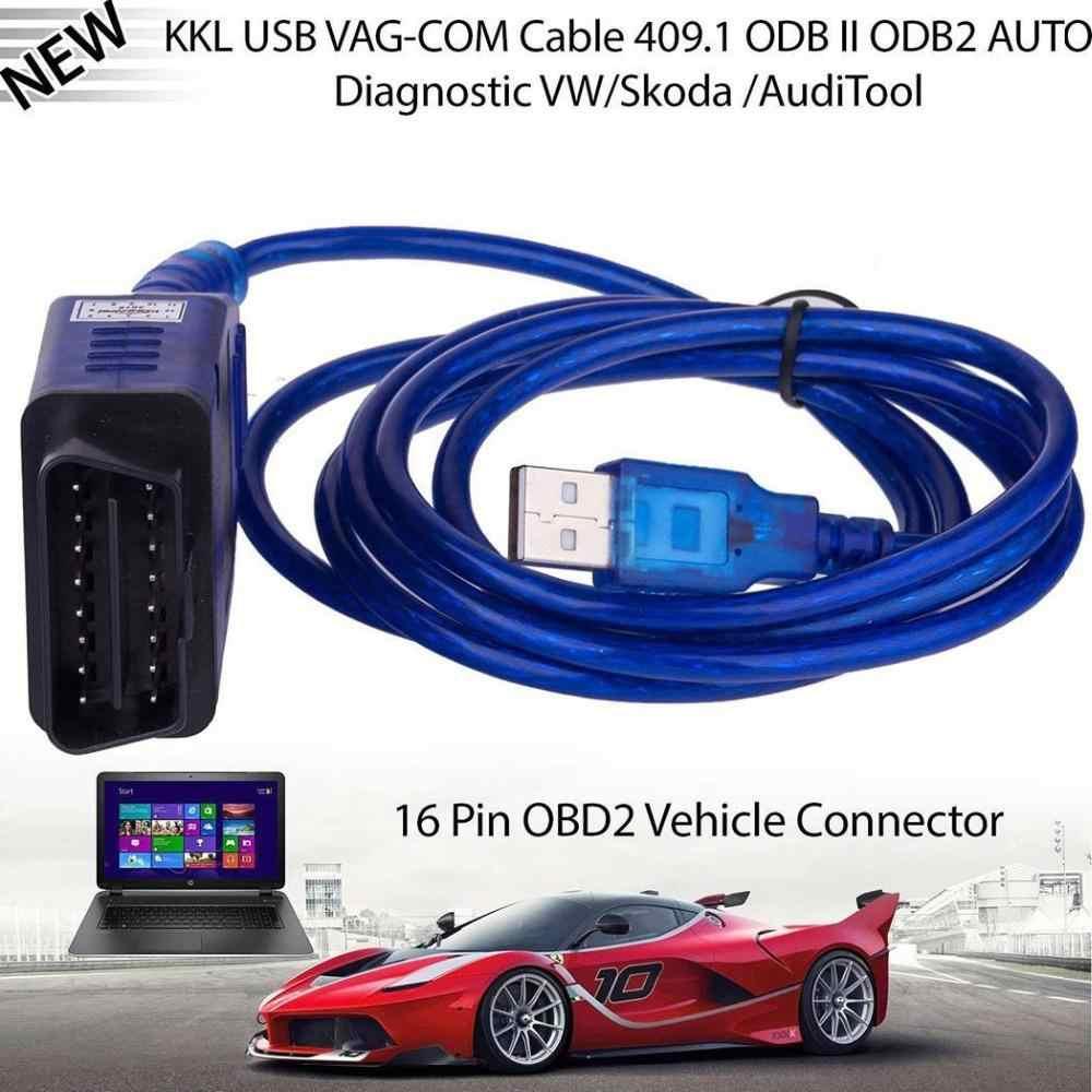 車の Usb Vag-Com インターフェイスケーブル KKL VAG-COM 409.1 OBD2 OBDII 16 ピン診断スキャナー自動ケーブル Aux