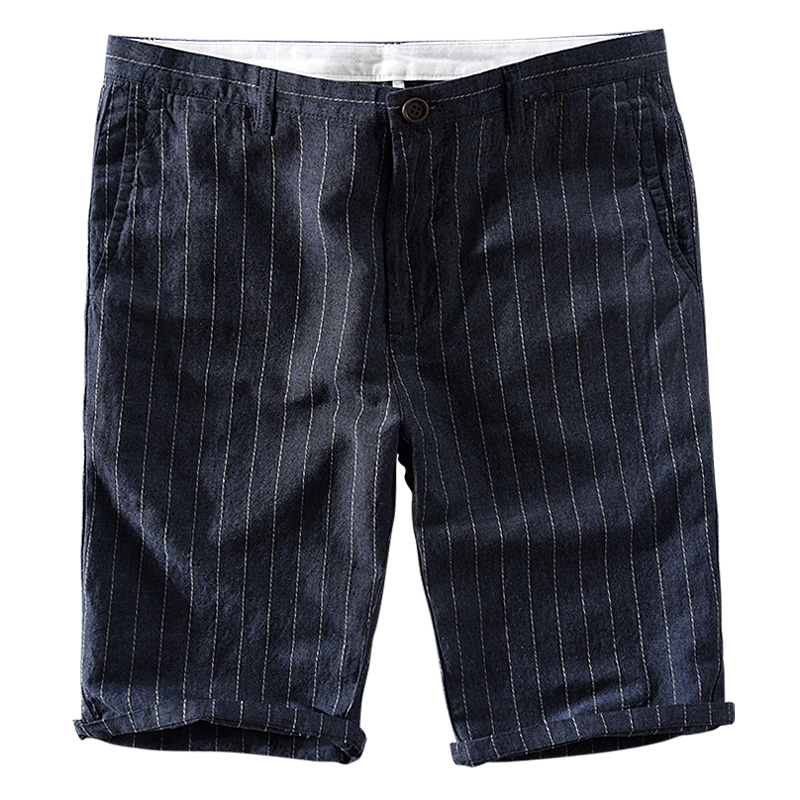 Suehaiwes brand new arrival 30-40 size summer shorts men linen stripes casual men shorts leisure short male pantalones cortos