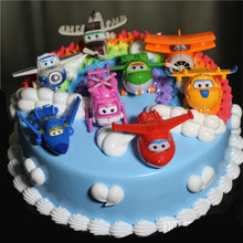 airplane toy cake topper kids children baby party supplies super wings birthday parties robot helicopter toy cupcake toppers(China)