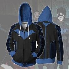Comic Nightwing Batman Partner Robin Costume Hoodie Super hero Anime Cosplay Sweatshirts Clothing Zipper Sweatshirt
