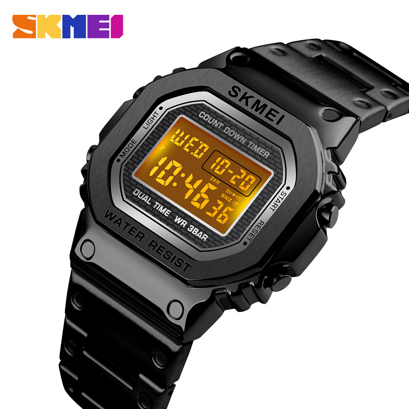 <font><b>SKMEI</b></font> Sports Watch For Men Chronograph Countdown Digital Watches Fashion Men's Business Waterproof Stainless Steel Male Clock image