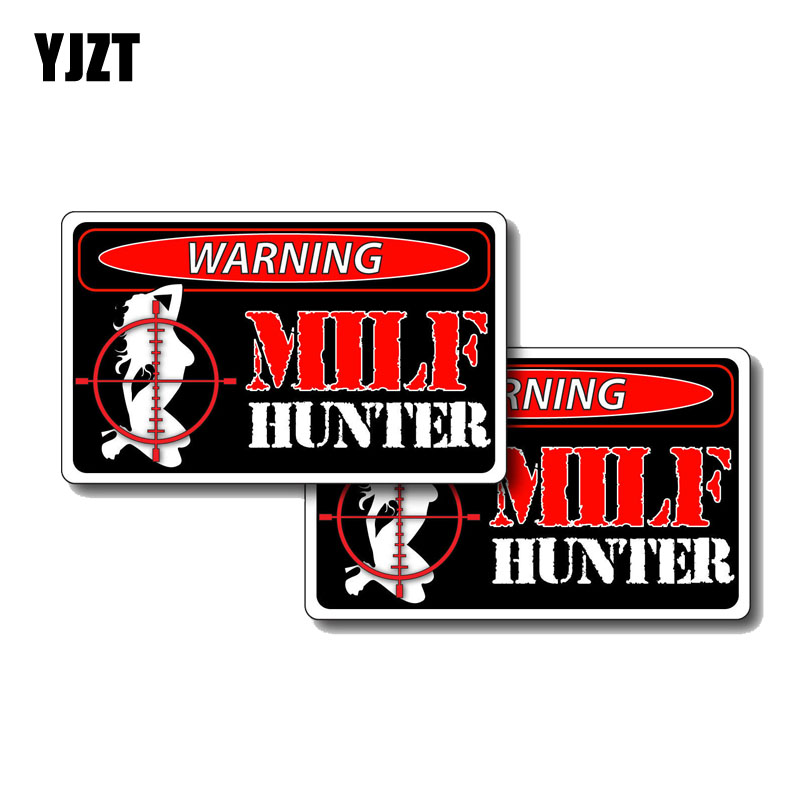 YJZT 2X 12CM*7CM Sexy Girl Milf Hunter Funny PVC Decal Car Sticker 12-0191