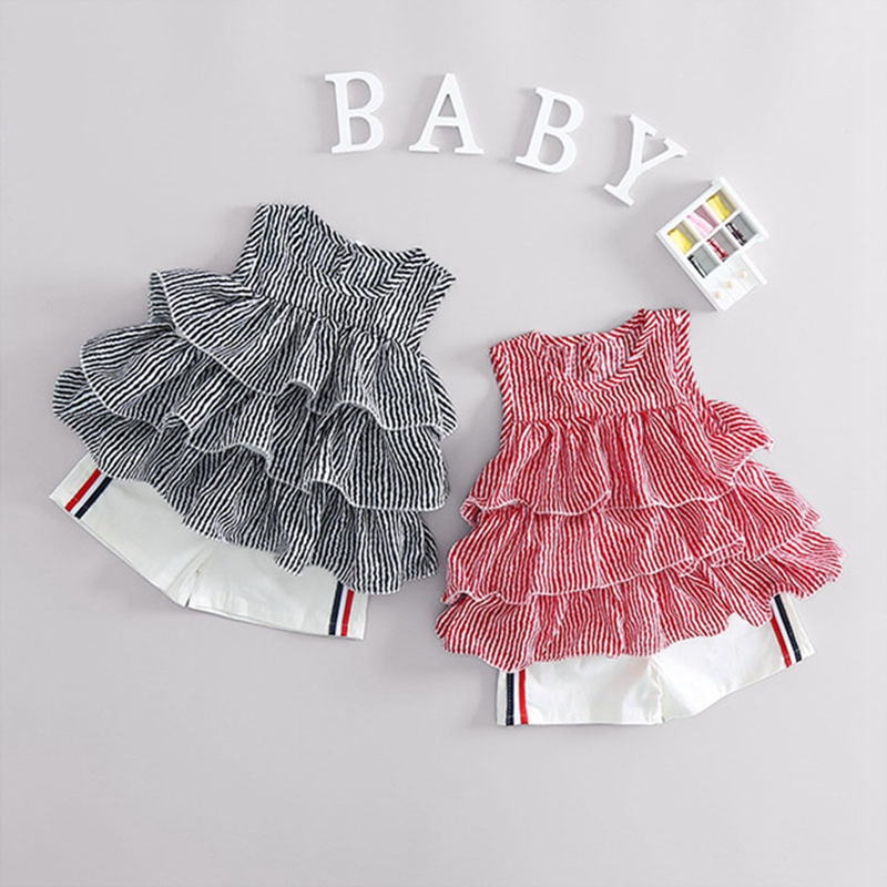 Summer Baby Girls Striped Print Ruffles Blouse Sleeveless Vest Tops Shorts Kids Two Pieces Suits Infant