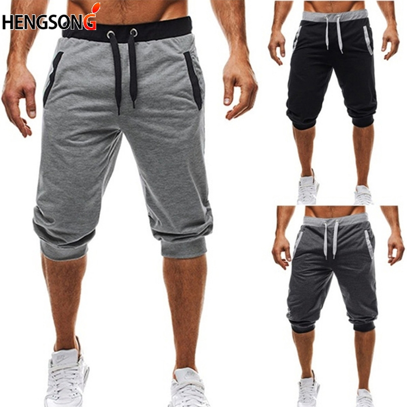 HENGSONG 2018 New Five-Point Pants  Men's Summer Knee length Casual Lace Up Pants Sweat Pant Slim fit color fitness pant